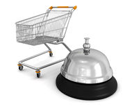 Shopping Cart and Service Bell (clipping path included) Stock Photo