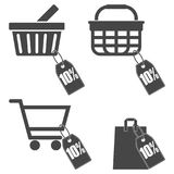 Shopping cart set, 10 percent. Vector icon Stock Images