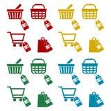 Shopping cart set, 10 percent. Vector icon Stock Image