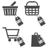 Shopping cart set, 50 percent. Vector icon Stock Image