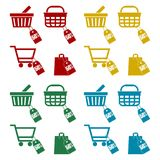 Shopping cart set, 50 percent. Vector icon Stock Images