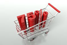Shopping cart and seventy five percent discount. Shopping cart and red seventy five percent discount, sale concept Stock Image