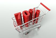 Shopping cart and seventy percent discount. Shopping cart and red seventy percent discount, sale concept Royalty Free Stock Photos