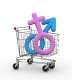 Shopping cart with sexual symbols inside Stock Photos