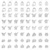 Shopping cart or shop basket vector icons for web merchandise and e-commerce Royalty Free Stock Photography