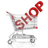A shopping cart with shop word isolated on white background Royalty Free Stock Photography