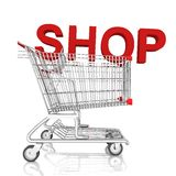 A shopping cart with shop word isolated on white background Stock Image