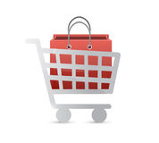 Shopping cart and shopping bag illustration Stock Photography