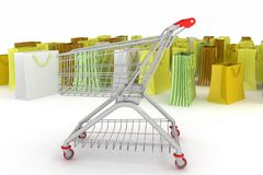 Shopping cart and shopping bags Royalty Free Stock Photo