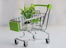 Shopping cart with shopping. Shopping cart on white background Stock Photo