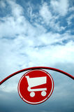 Shopping Cart Sign. Shopping cart or trolley sign with space for copy Stock Images