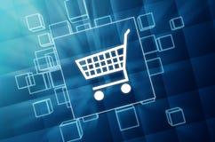 Shopping cart sign in blue glass blocks Stock Photos
