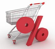 Shopping cart with sign of percentage inwardly. 3d render Stock Images