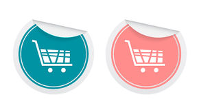 Shopping cart signs in sticker style Royalty Free Stock Image