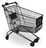 Shopping Cart Silhouette. Isolated empty shopping cart black silhouette Stock Illustration
