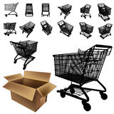 Shopping cart silhouette set Royalty Free Stock Photos