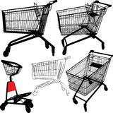 Shopping cart silhouettes Royalty Free Stock Image