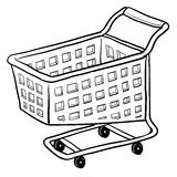 Shopping cart sketch. Doodle style shopping cart illustration or e-commerce icon in vector format suitable for web, print, or advertising use Royalty Free Stock Image