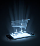 Shopping cart on a smart phone royalty free illustration
