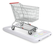 Shopping cart on smartphone Royalty Free Stock Photo