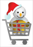 Shopping cart with snowman illustration design Stock Image