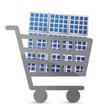 Shopping cart and solar panel Royalty Free Stock Photography