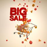 Shopping cart with splashed 3D geometries and big sale texts. Shopping cart with splashed colorful 3D geometries and big sale texts Stock Photos