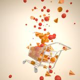 Shopping cart with splashed 3D geometries. Royalty Free Stock Photography