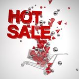Shopping cart with splashed 3D geometries with hot sale texts. Stock Images