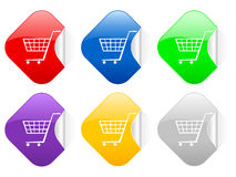 Shopping cart square stickers Royalty Free Stock Photos