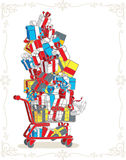 Shopping Cart Stacked with Presents Vector Cartoon Stock Image