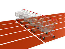 Shopping cart on starting line Royalty Free Stock Photo