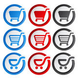 Shopping cart stickers - trolley, item or button Royalty Free Stock Images