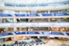 Shopping cart structure Retail marketing E-commerce blurred supermarket background. royalty free illustration