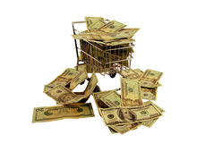 Shopping Cart stuffed money. Shopping cart made of metal used for carrying groceries stuffed with Money in the form of many large bills Stock Photo