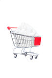 Shopping cart with sugar cubes Stock Image