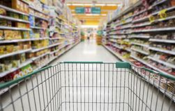 Shopping cart. In the supermarket Stock Image