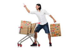 Shopping cart with supermarket Royalty Free Stock Images