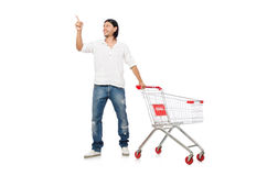 Shopping cart with supermarket Royalty Free Stock Photos