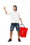 Shopping cart with supermarket Royalty Free Stock Photography