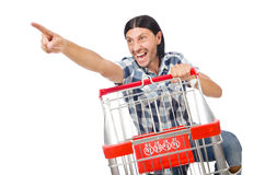 Shopping cart with supermarket Stock Images