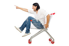 Shopping cart with supermarket Royalty Free Stock Image
