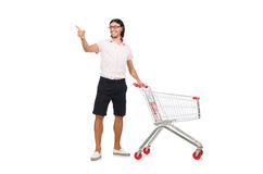 Shopping cart with supermarket Stock Photos