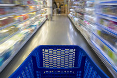 Shopping cart in a supermarket Stock Photo