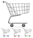 Shopping cart. Supermarket shopping cart with color wheels and handle Stock Image