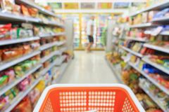 Shopping cart with Supermarket convenience store aisle. Shelves interior blur for background stock images