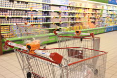Shopping cart in supermarket Royalty Free Stock Photography