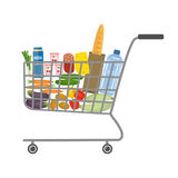 Shopping cart in a supermarket full of food and drinks. There is a bread, a bottle of water, a milk, a cheese, sausage, vegetables and other products in the Stock Image