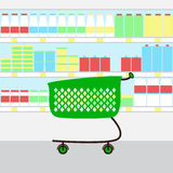 Shopping cart at supermarket Stock Photo