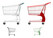 Shopping cart. Supermarket shopping cart silhouette on a white background Stock Photos